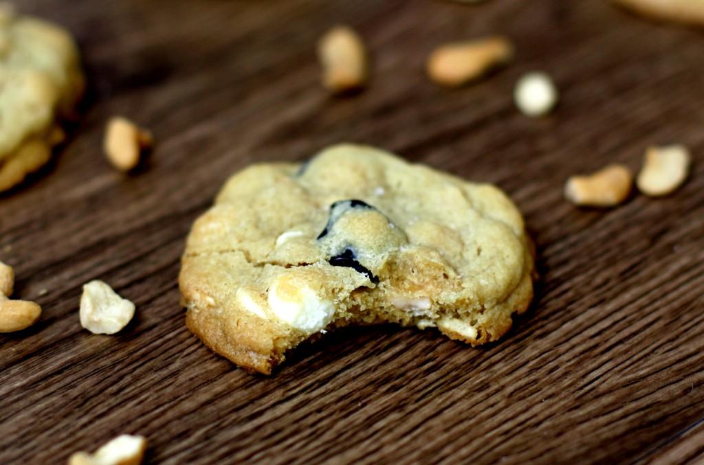 Cherry, Cashew, and White Chocolate Chip Cookies