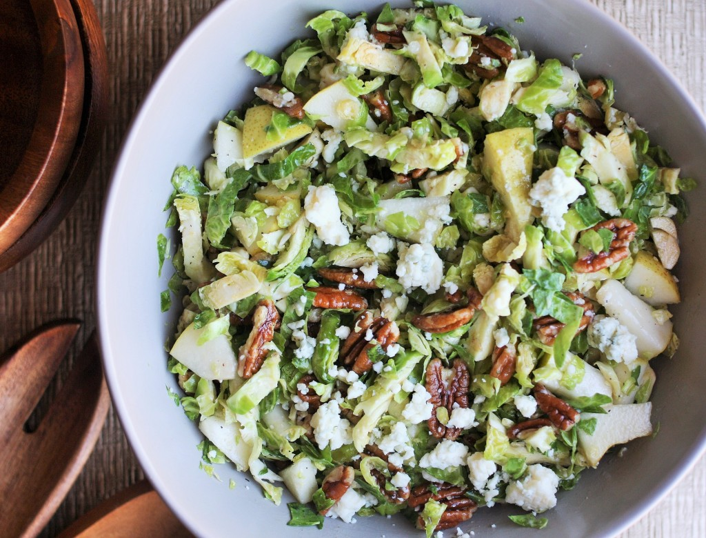 Pear, Gorgonzola and Pecan Brussels Sprout Slaw